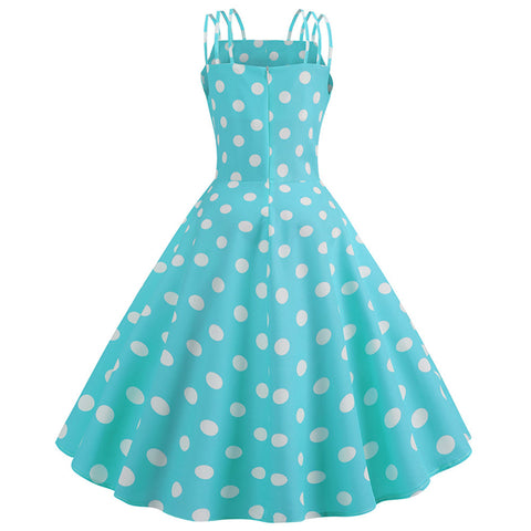 Blue Polka Dot Vintage Halter Dress