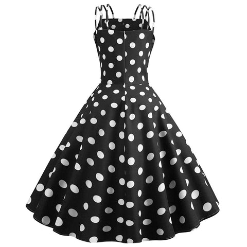 Black Polka Dot Vintage Halter Dress