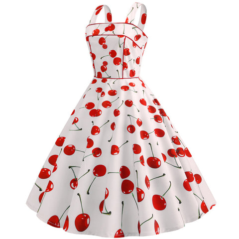 White Cherry Print Vintage Dress