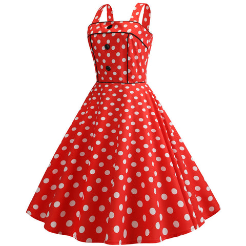 Red Polka Dot Vintage Halter Dress