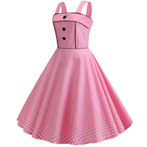 Pink Polka Dot Vintage Halter Dress
