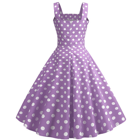 Purple Polka Dot Vintage Halter Dress