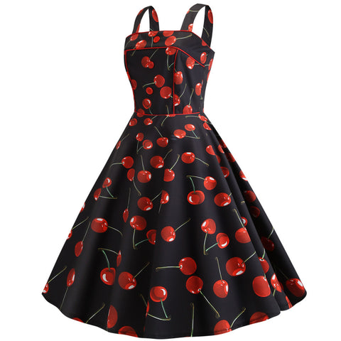 Black Cherry Print Vintage Dress