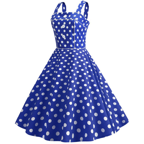 Royal Blue Polka Dot Vintage Halter Dress