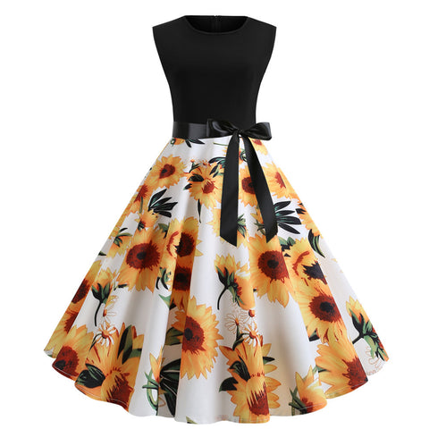 Sunflower Print Vintage Dress