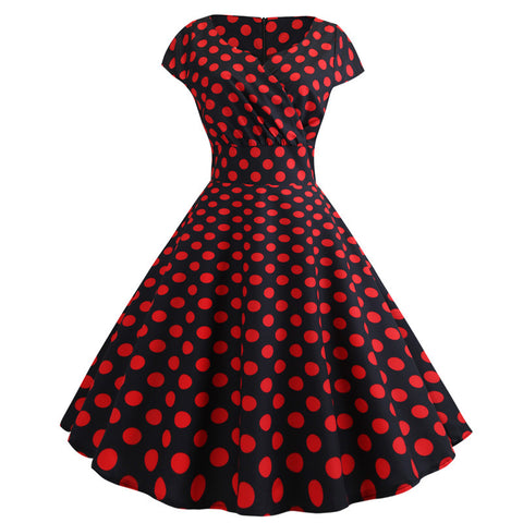 Black polka dot vintage dress