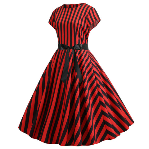 Red and Black Stripe Vintage Dress