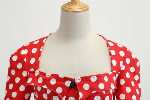 Red Polka Dot Button-up Vintage Dress