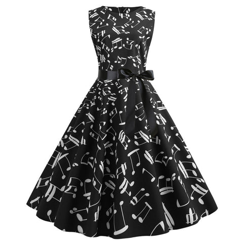 Black Music Note Print Vintage Dress