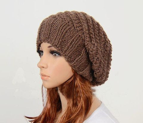 Slouchy handmade knitted hat cap in Brown
