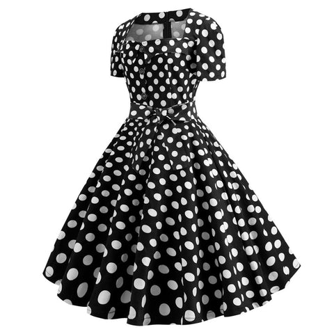 Black Polka Dot Button-up Vintage Dress