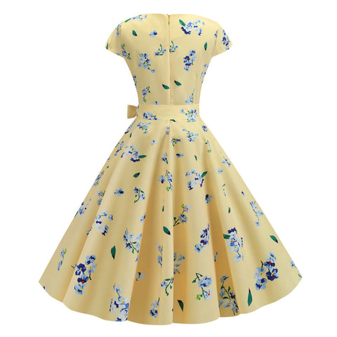 Yellow Floral Vintage Dress