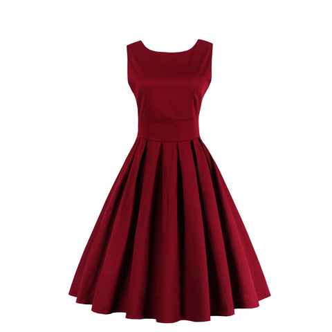 Burgundy Pleated Vintage Dress