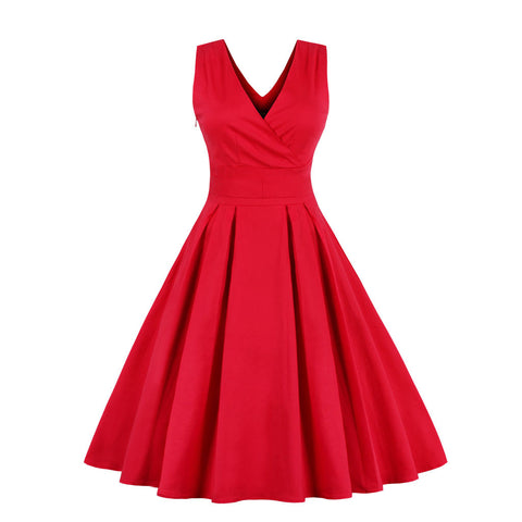 Red V-neck Maxi Vintage Dress