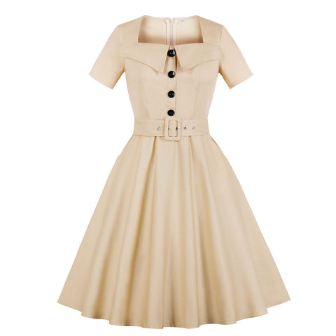 Beige Belted Button-up Dress