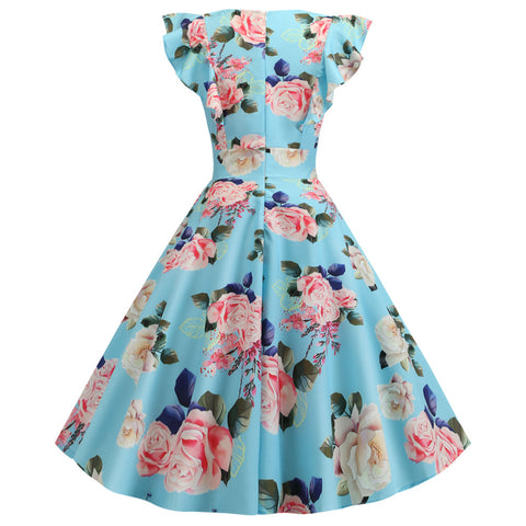 Blue Rose Floral Vintage Dress