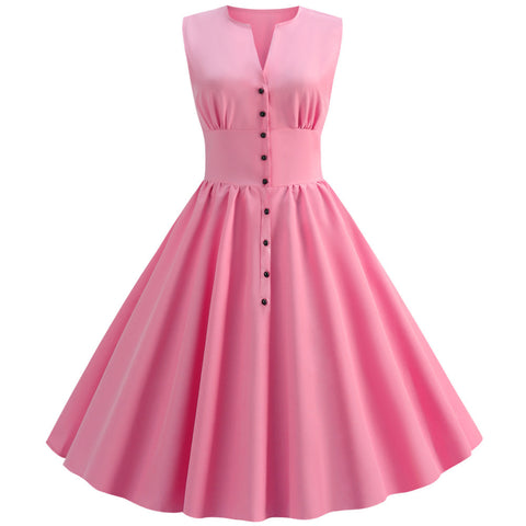 Pink Button-up Vintage Dress