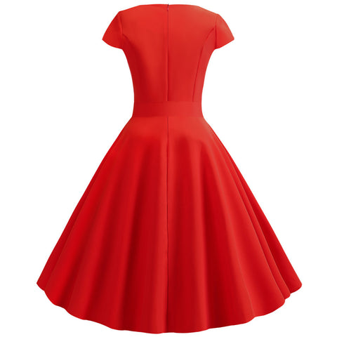 Red V-neck  Vintage Dress