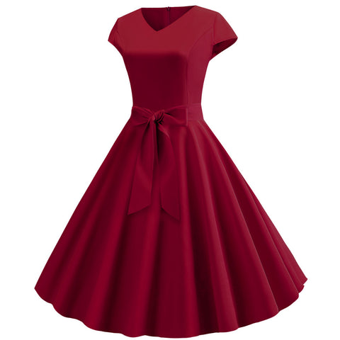 Burgundy V-neck  Vintage Dress