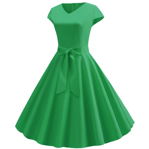 Green V-neck  Vintage Dress