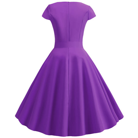 Purple V-neck  Vintage Dress