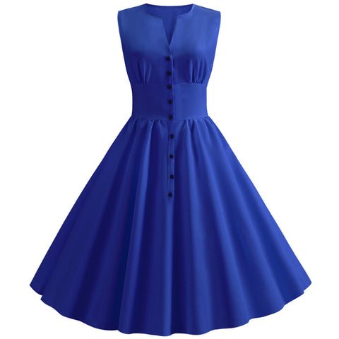 Blue Button-up Vintage Dress