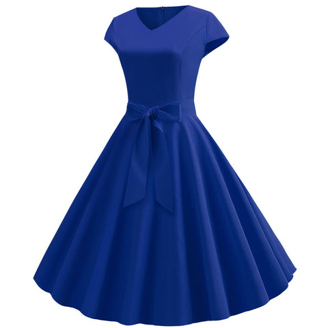 Royal Blue V-neck  Vintage Dress