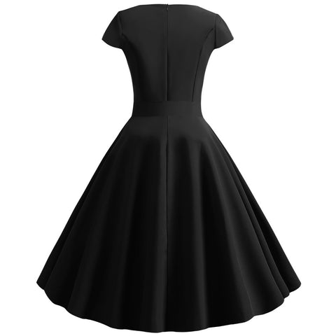 Black V-neck  Vintage Dress