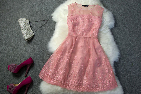 Embroidered Lace Dress with in Pink