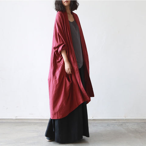 Deep Red Cotton And Linen Cardigan