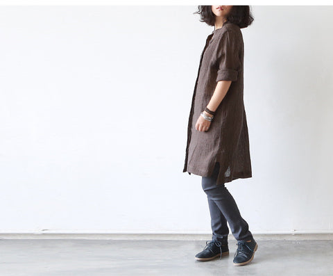 Linen Top in  Brown