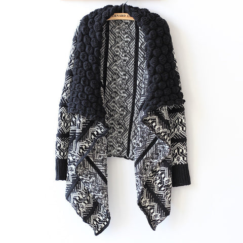 Navy and White Geometric Print Cape Cardigan Sweater