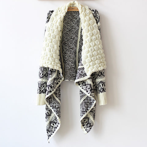 Black and White Geometric Print Cape Cardigan Sweater