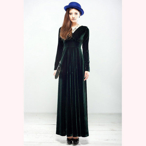 Green Long Sleeve Velvet Maxi Dress