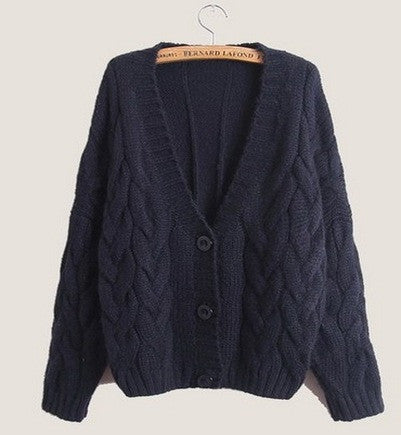 Cabled Sweater cardigan in Navy Blue