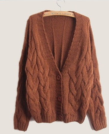 Cabled Sweater cardigan in Khaki