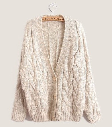 Cabled Sweater cardigan in Beige