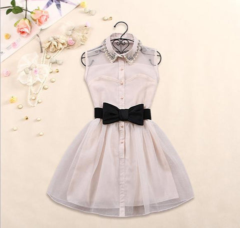 Dress with Pearl Diamond and Bowtie in White
