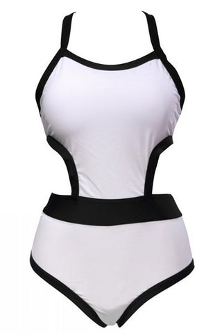 Black and White Swimming Suite One Piece