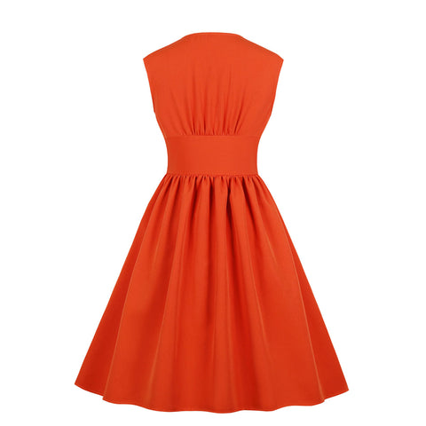 Orange Button Up Vintage Dress