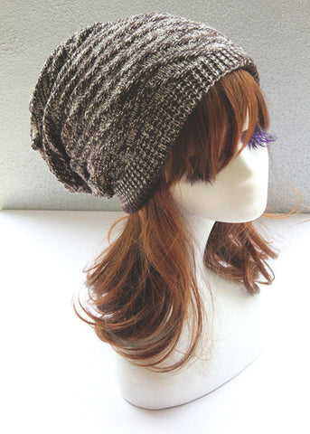 Brown and White Double Side Slouchy Hat