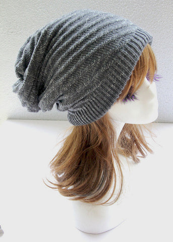 Gray and White Double Side Slouchy Hat