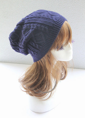 Blue Cabled Knitted Hat