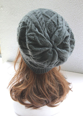 Brown Cabled Knitted Hat