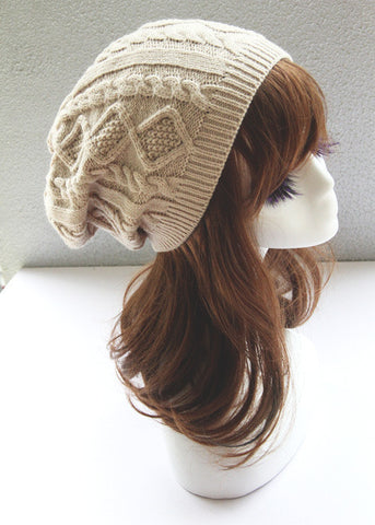 Beige Cabled Knitted Hat