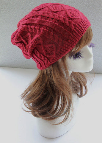 Red Cabled Knitted Hat