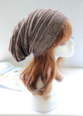 Brown and Black Slouchy Hat