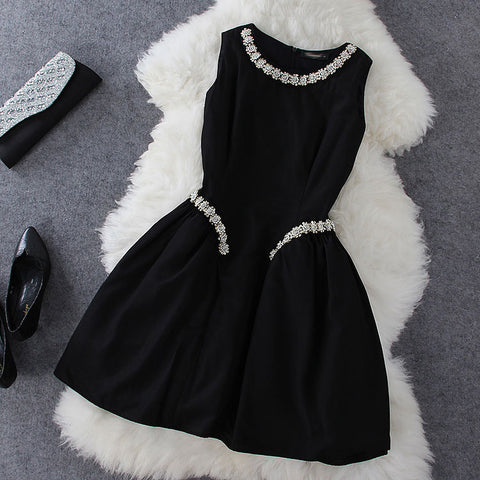 Plastic Pearl Beaded Dress in Black