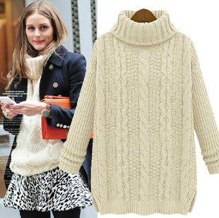 Long Cabled Sweater in White
