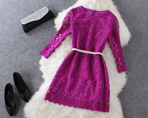 Long Sleeve Lace Dress in Purple